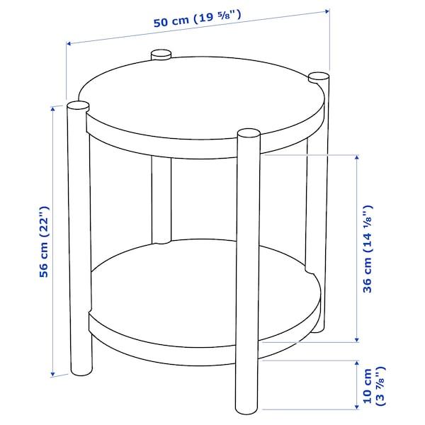 LISTERBY Pomoćni stočić, belo bajcovano hrastovina, 50 cm