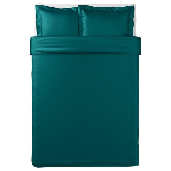 LUKTJASMIN jorganska navlaka i 2 jastučnice tamnozelena 310 kvadratni inč 2 komada 200 cm 200 cm 50 cm 60 cm