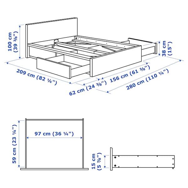 MALM Okvir kreveta,vis. s 4 kut.odlag., smeđe bajcovano jasenov furnir/Leirsund, 140x200 cm
