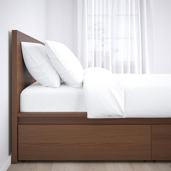 MALM Okvir kreveta,vis. s 4 kut.odlag., smeđe bajcovano jasenov furnir/Luröy, 140x200 cm