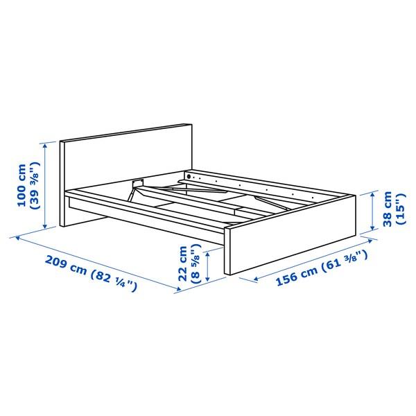 MALM Okvir kreveta, visoki, sivo bajcovano, 140x200 cm