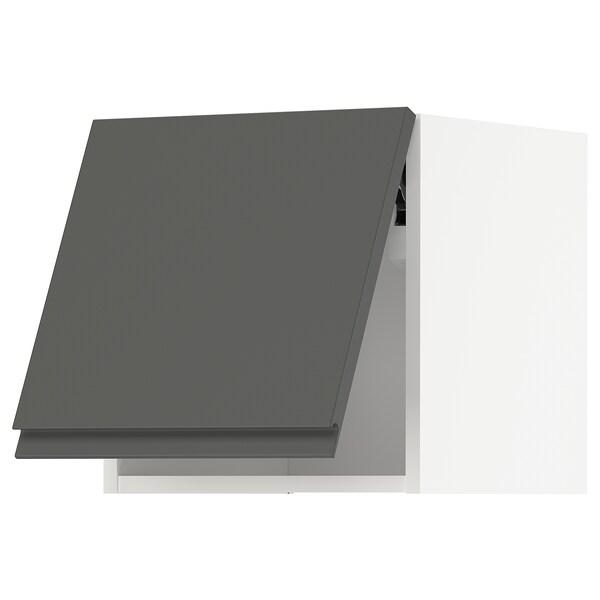 METOD Horiz.zidni elem, otvar. na dodir, bela/Voxtorp tamnosiva, 40x40 cm