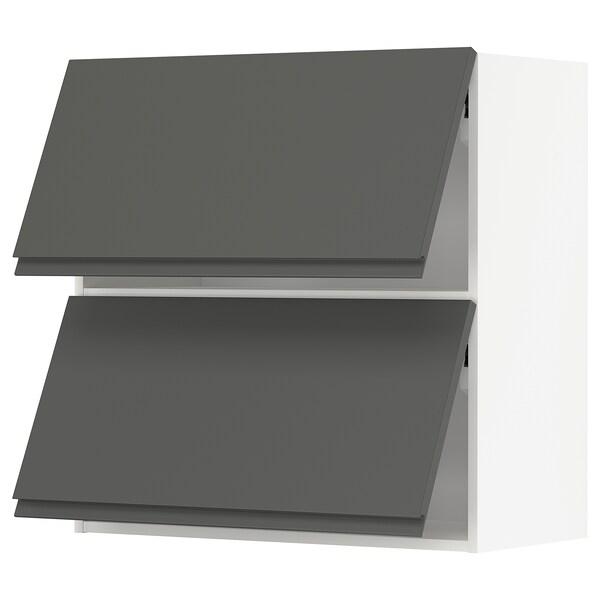 METOD Horizontalni zid.ormarić i 2 vrata, bela/Voxtorp tamnosiva, 80x80 cm