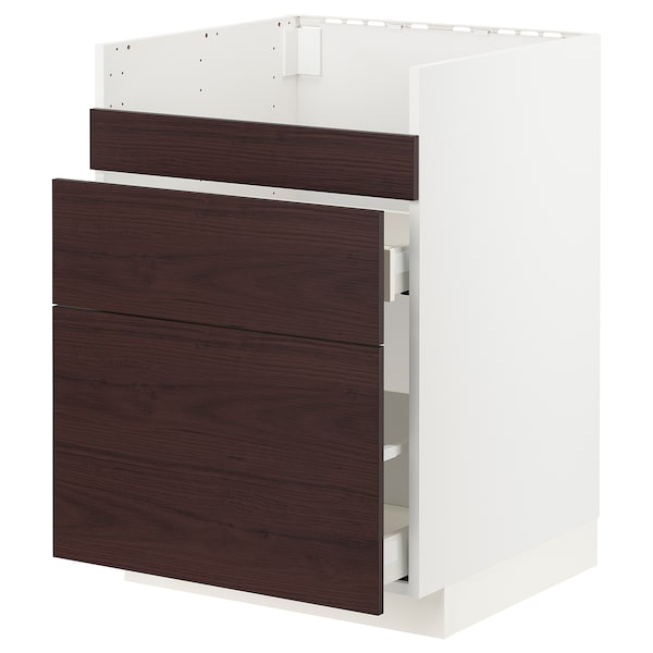 METOD / MAXIMERA Pod.el.BREDSJÖN sudop/3front/2fiok, bela Askersund/tamnosmeđa imitacija jasena, 60x60 cm