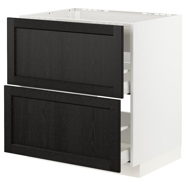 METOD / MAXIMERA Pod.el.za gr.ploču/ug.asp.s fiokom, bela/Lerhyttan crno bajcovano, 80x60 cm