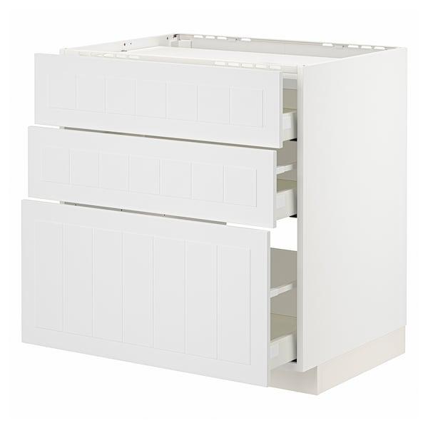 METOD / MAXIMERA Pod.elem.grej.ploča/3front/3fiok, bela/Stensund bela, 80x60 cm