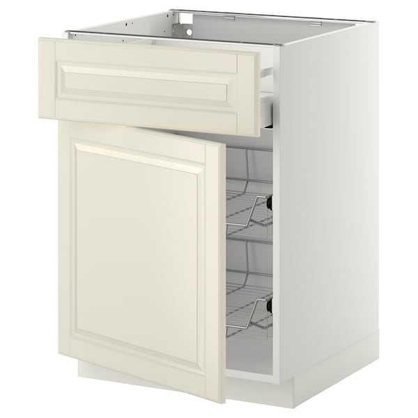 METOD / MAXIMERA Pod.elem.žičana korpa/fioka/vrata, bela/Bodbyn prljavobela, 60x60 cm
