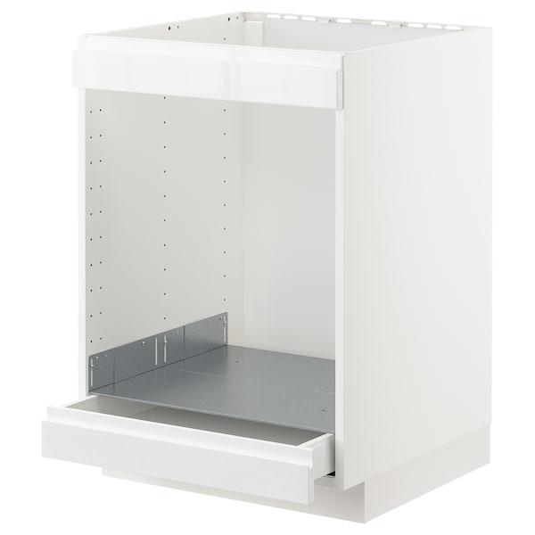 METOD / MAXIMERA Pod.orm.grej.ploča i pećn. s fiokom, bela/Voxtorp v. sjaj bela, 60x60 cm