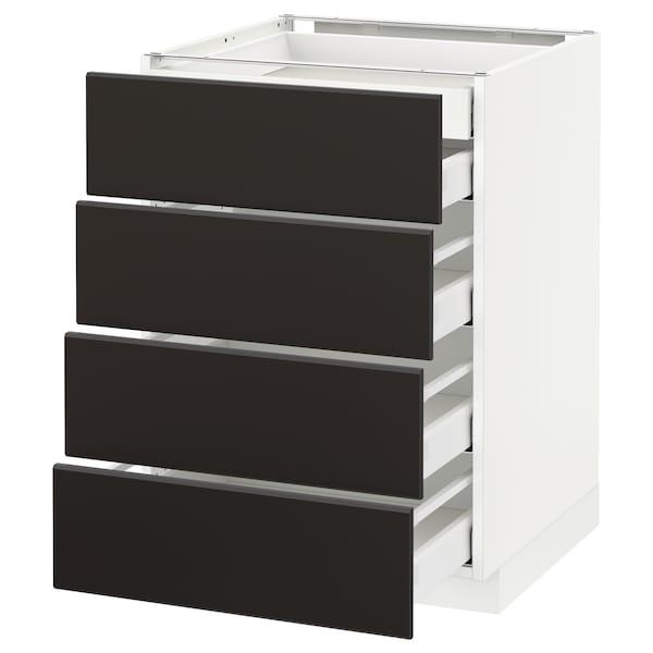 METOD / MAXIMERA Pod.ormar.4fronta/2donj/3sred.fioke, bela/Kungsbacka boja antracita, 60x60 cm