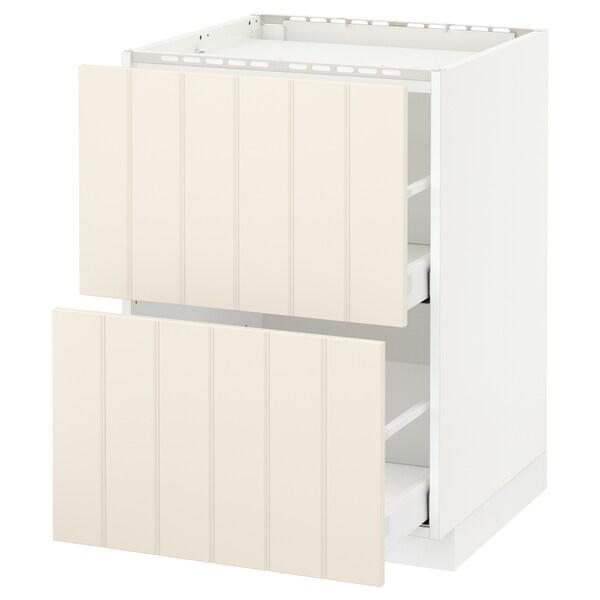 METOD / MAXIMERA Pod.ormar.grej.ploča/2front/2fiok, bela/Hittarp prljavobela, 60x60 cm