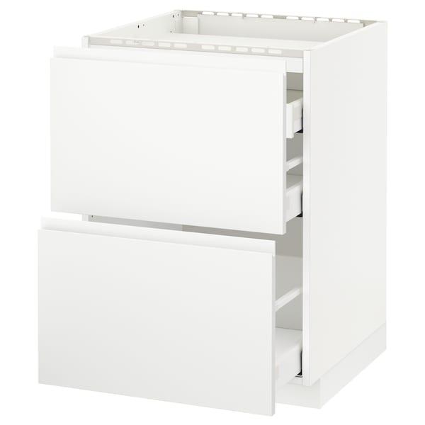 METOD / MAXIMERA Pod.ormar.grej.ploča/2front/3fiok, bela/Voxtorp matirano bela, 60x60 cm
