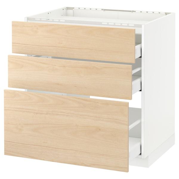 METOD / MAXIMERA Pod.ormar.grej.ploča/3front/3fiok, bela/Askersund im. svetlog jasena, 80x60 cm