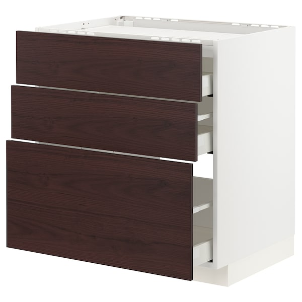 METOD / MAXIMERA Pod.ormar.grej.ploča/3front/3fiok, bela Askersund/tamnosmeđa imitacija jasena, 80x60 cm