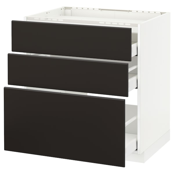 METOD / MAXIMERA Pod.ormar.grej.ploča/3front/3fiok, bela/Kungsbacka boja antracita, 80x60 cm