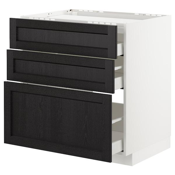 METOD / MAXIMERA Pod.ormar.grej.ploča/3front/3fiok, bela/Lerhyttan crno bajcovano, 80x60 cm