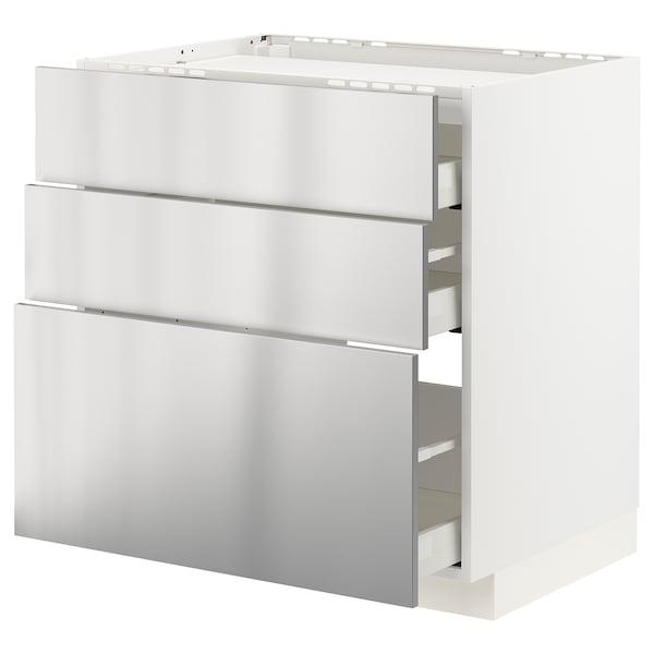 METOD / MAXIMERA Pod.ormar.grej.ploča/3front/3fiok, bela/Vårsta nerđajući čelik, 80x60 cm