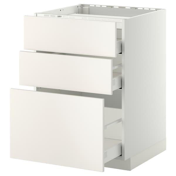 METOD / MAXIMERA Pod.ormar.grej.ploča/3front/3fiok, bela/Veddinge bela, 60x60 cm