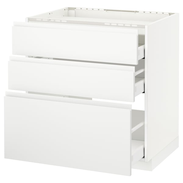 METOD / MAXIMERA Pod.ormar.grej.ploča/3front/3fiok, bela/Voxtorp matirano bela, 80x60 cm