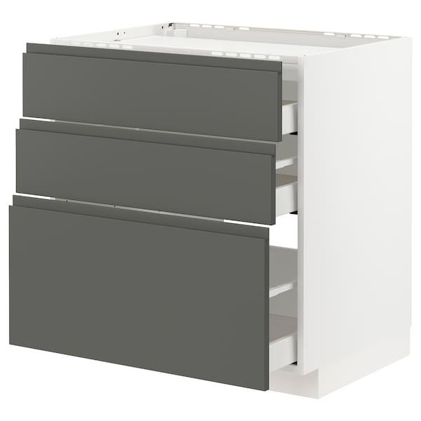 METOD / MAXIMERA Pod.ormar.grej.ploča/3front/3fiok, bela/Voxtorp tamnosiva, 80x60 cm