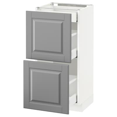 METOD / MAXIMERA Pod.ormarić i 2fronta/3fioke, bela/Bodbyn siva, 40x37 cm