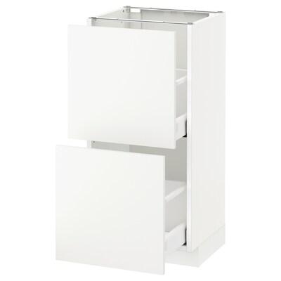 METOD / MAXIMERA Podni ormarić,2 fioke, bela/Häggeby bela, 40x37 cm