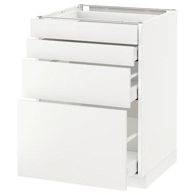 METOD / MAXIMERA Podni ormarić 4 fronta/4 fioke, bela/Häggeby bela, 60x60 cm