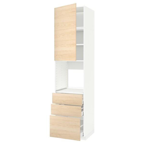METOD / MAXIMERA Vis.el.pećn. s vratima/3 fioke, bela/Askersund im. svetlog jasena, 60x60x240 cm