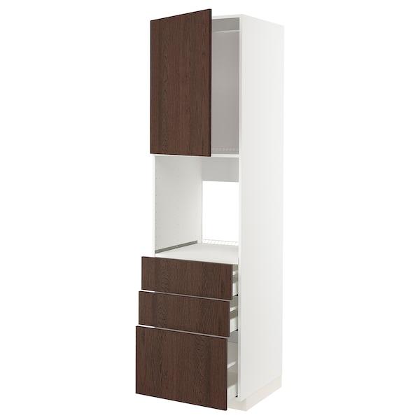 METOD / MAXIMERA Vis.el.pećn. s vratima/3 fioke, bela/Sinarp smeđa, 60x60x220 cm