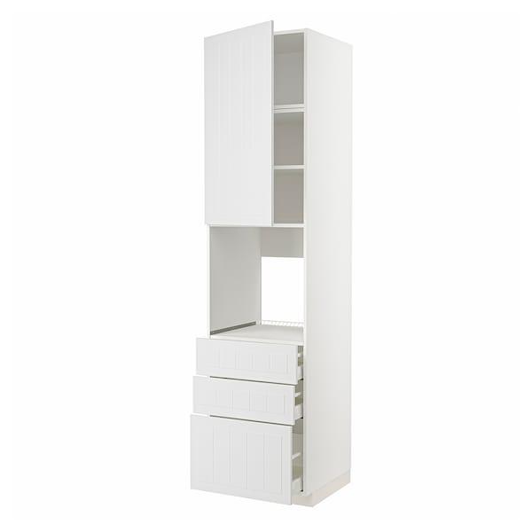 METOD / MAXIMERA Vis.el.pećn. s vratima/3 fioke, bela/Stensund bela, 60x60x240 cm
