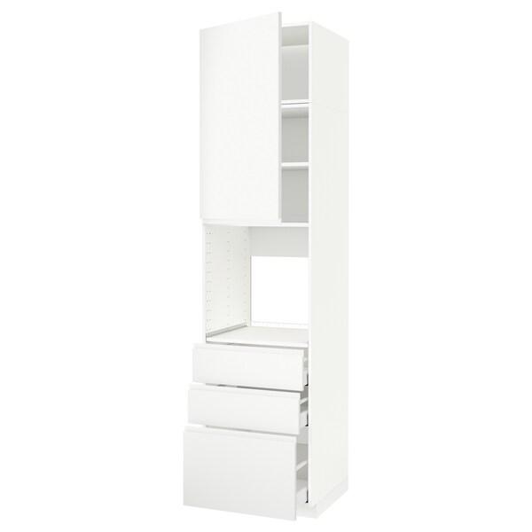 METOD / MAXIMERA Vis.el.pećn. s vratima/3 fioke, bela/Voxtorp matirano bela, 60x60x240 cm