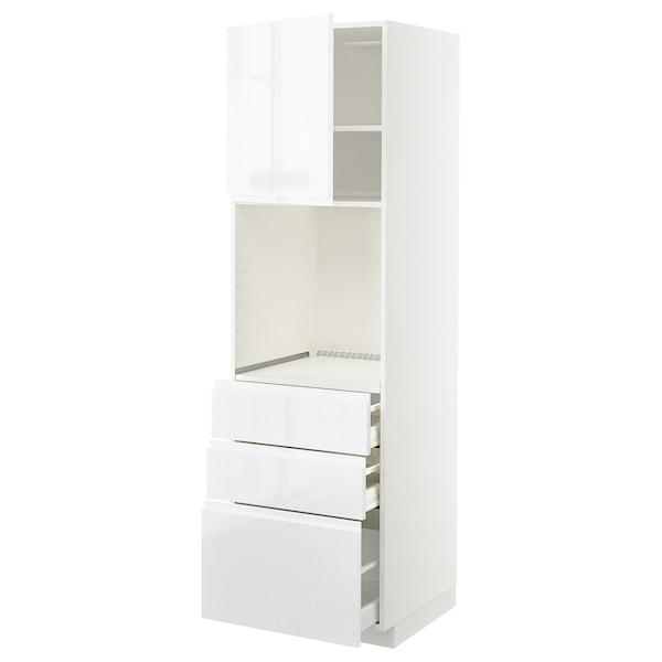 METOD / MAXIMERA Vis.el.pećn. s vratima/3 fioke, bela/Voxtorp v. sjaj bela, 60x60x200 cm