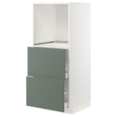 METOD / MAXIMERA Vis. elem. s 2 fioke za pećnicu, bela/Bodarp sivozelena, 60x60x140 cm