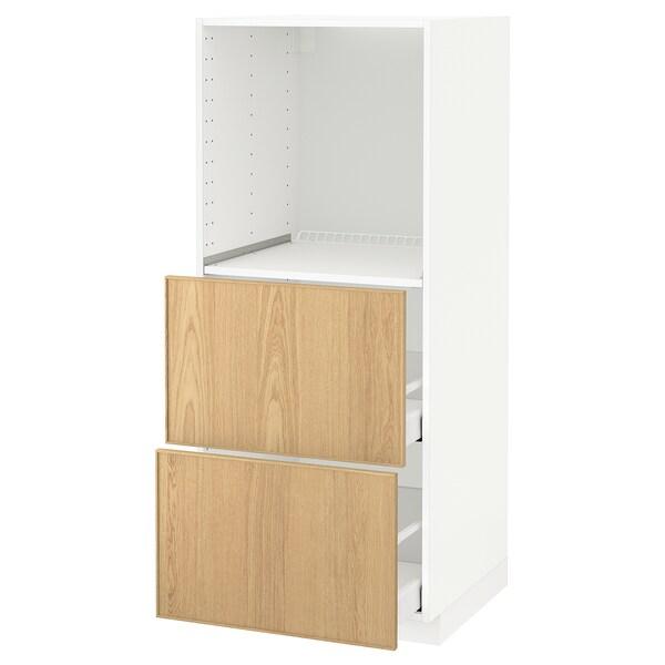 METOD / MAXIMERA Vis. elem. s 2 fioke za pećnicu, bela/Ekestad hrastovina, 60x60x140 cm