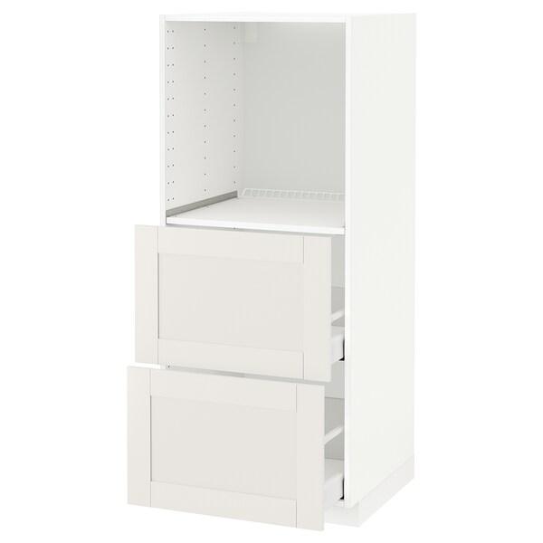 METOD / MAXIMERA Vis. elem. s 2 fioke za pećnicu, bela/Sävedal bela, 60x60x140 cm