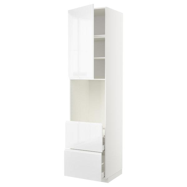 METOD / MAXIMERA Vis.elem.za pećnicu i vrata/2 fioke, bela/Voxtorp v. sjaj bela, 60x60x240 cm