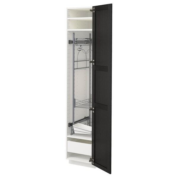 METOD / MAXIMERA Visoki element-ostava, bela/Lerhyttan crno bajcovano, 40x60x200 cm