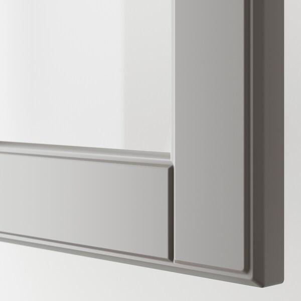 METOD / MAXIMERA Zid.ormarić,stakl.vrata/2fioke, bela/Bodbyn siva, 40x100 cm