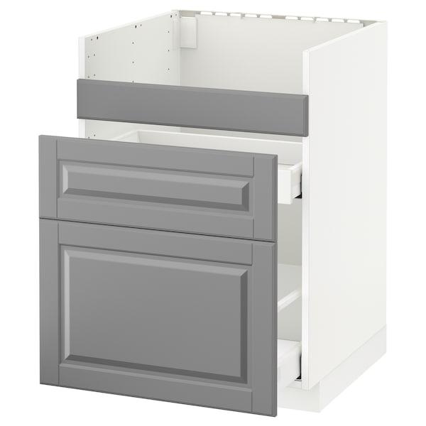 METOD Pod.el.BREDSJÖN sudop/3front/2fiok, bela/Bodbyn siva, 60x60 cm