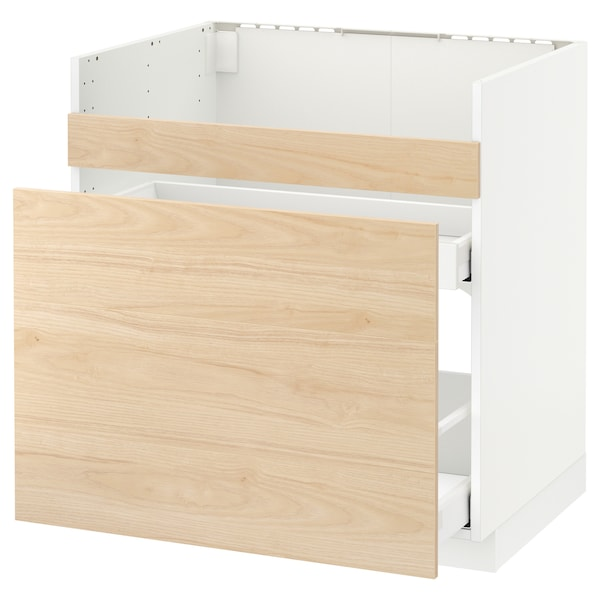 METOD Pod.el.BREDSJÖN sudop/3front/2fiok, bela Maximera/Askersund im. svetlog jasena, 80x60 cm