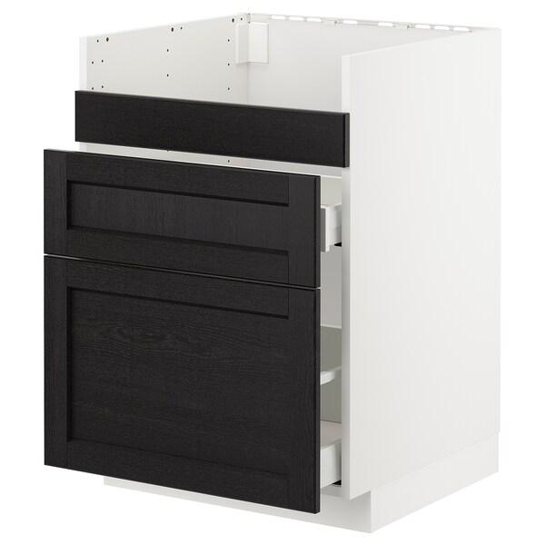METOD Pod.el.BREDSJÖN sudop/3front/2fiok, bela Maximera/Lerhyttan crno bajcovano, 60x60 cm