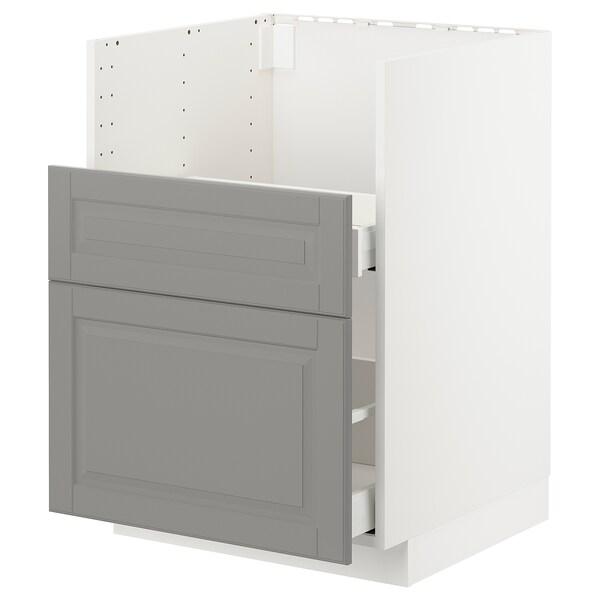 METOD Pod.el.BREDSJÖNsudop/2fron/2fiok, bela/Bodbyn siva, 60x60 cm