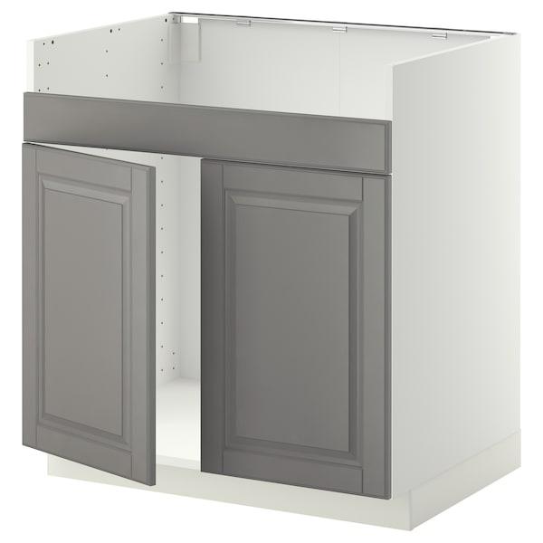 METOD Pod.el. HAVSEN sudop. s dva korita, bela/Bodbyn siva, 80x60 cm