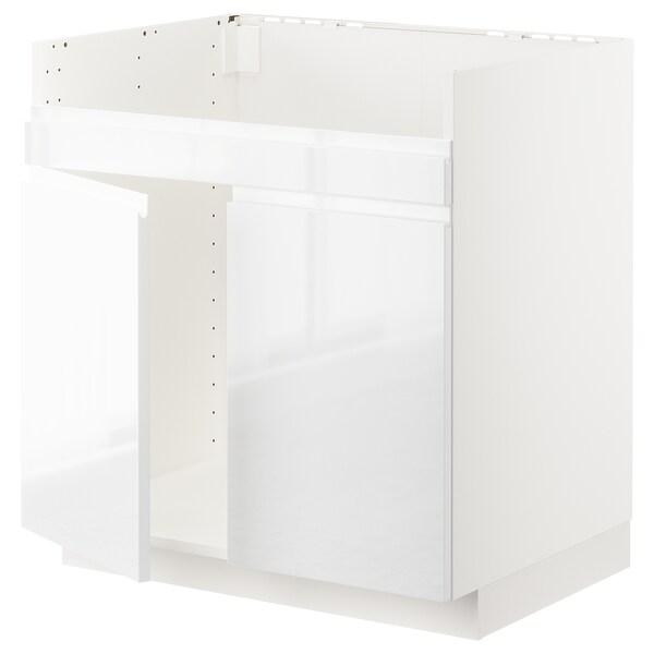 METOD Pod.el. HAVSEN sudop. s dva korita, bela/Voxtorp v. sjaj bela, 80x60 cm
