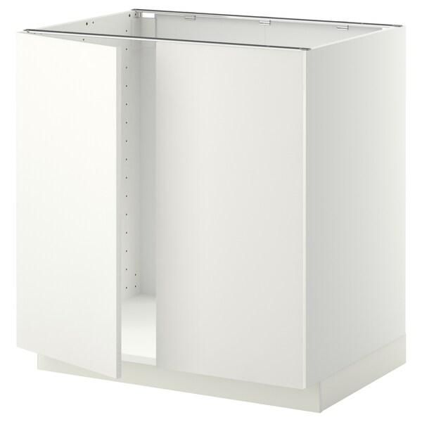 METOD Pod.elem. za sudoperu s 2 vrata, bela/Häggeby bela, 80x60 cm