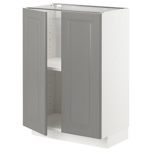 METOD Podni element s policama/2 vrata, bela/Bodbyn siva, 60x37 cm
