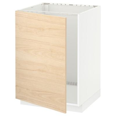 METOD Podni element za sudoperu, bela/Askersund im. svetlog jasena, 60x60 cm