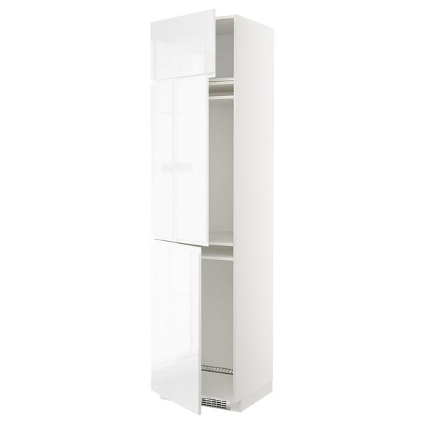 METOD Vis.elem.frižid./zamrz. i 3 vrata, bela/Voxtorp v. sjaj bela, 60x60x240 cm