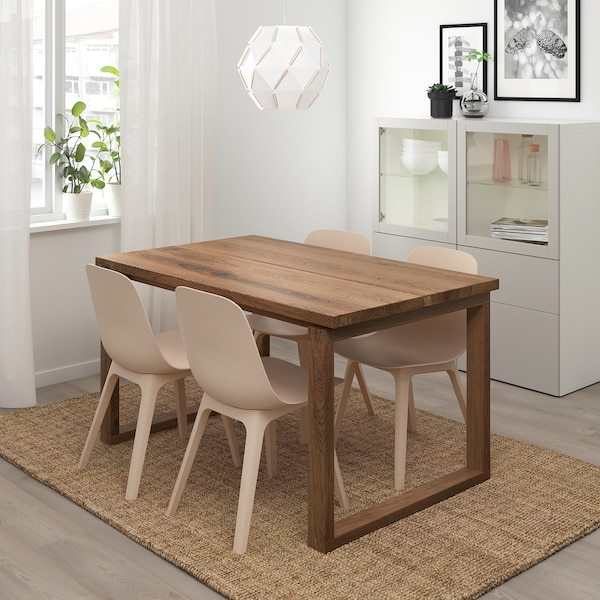 MÖRBYLÅNGA / ODGER Sto i 4 stolice, smeđa bela/bež, 140x85 cm