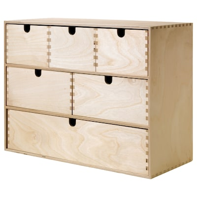 MOPPE Mini-komoda s fiokama, brezova šperploča, 42x18x32 cm