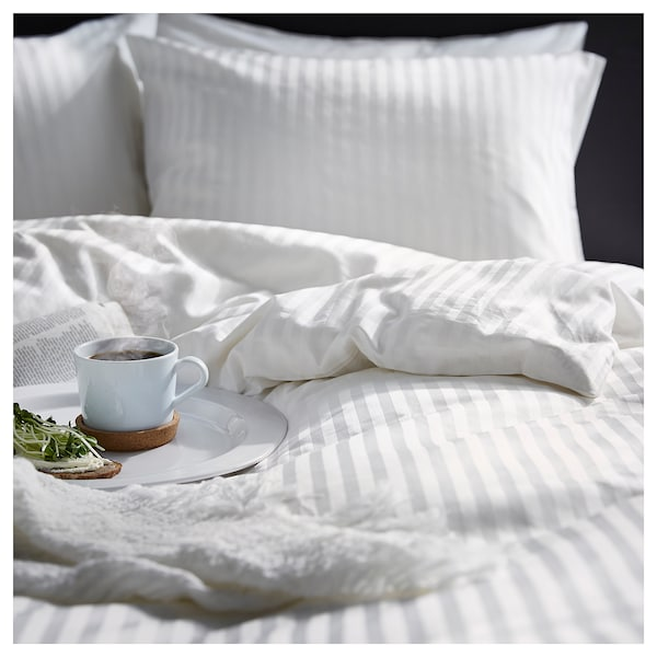 NATTJASMIN Jorganska navlaka i 2 jastučnice, bela, 200x200/50x60 cm